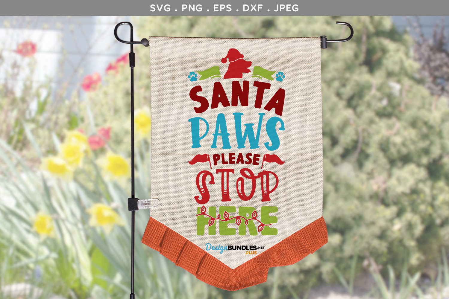 Santa Paws, Please stop here - svg, printable example image 1