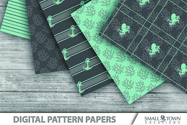 Octopus, Nautical, Ocean, pattern paper, PRINT, CUT & DESIGN example image 3