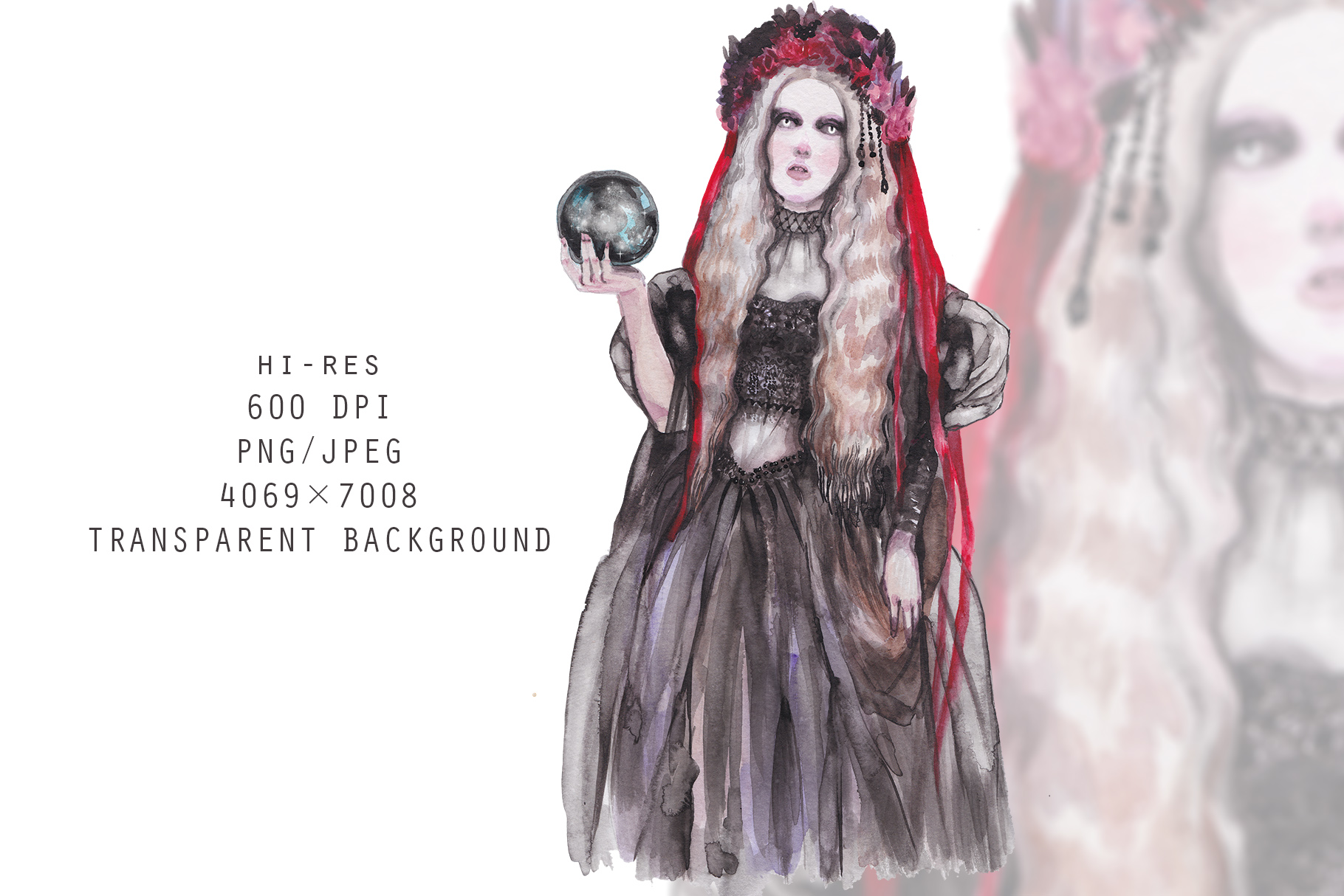 Halloween Witch with veil and glass ball,watercolor portrait example image 2