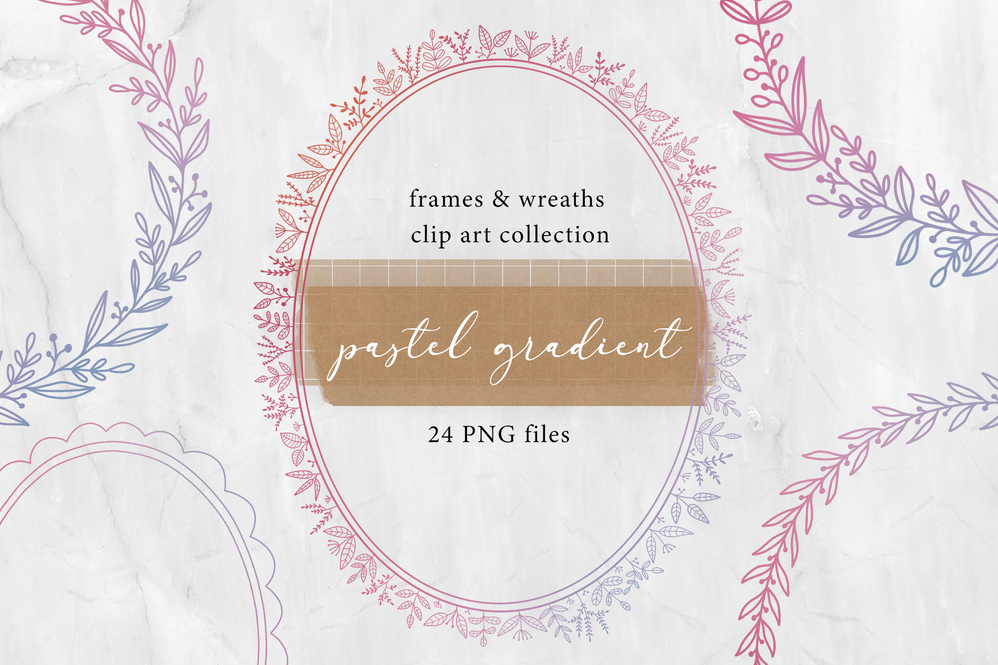 24 Pastel Gradient Frames and Wreaths clip art example image 1