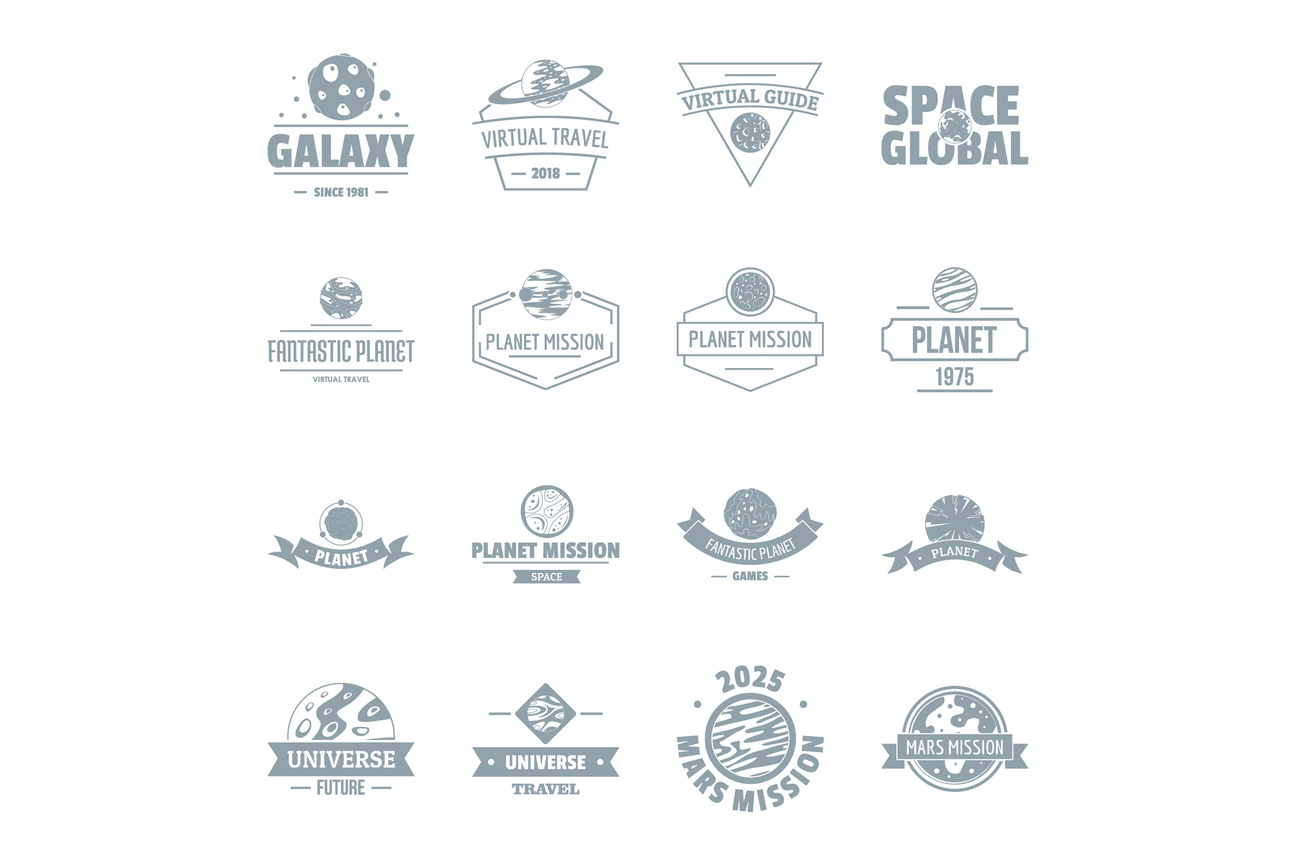 Space planet logo icons set, simple style example image 1