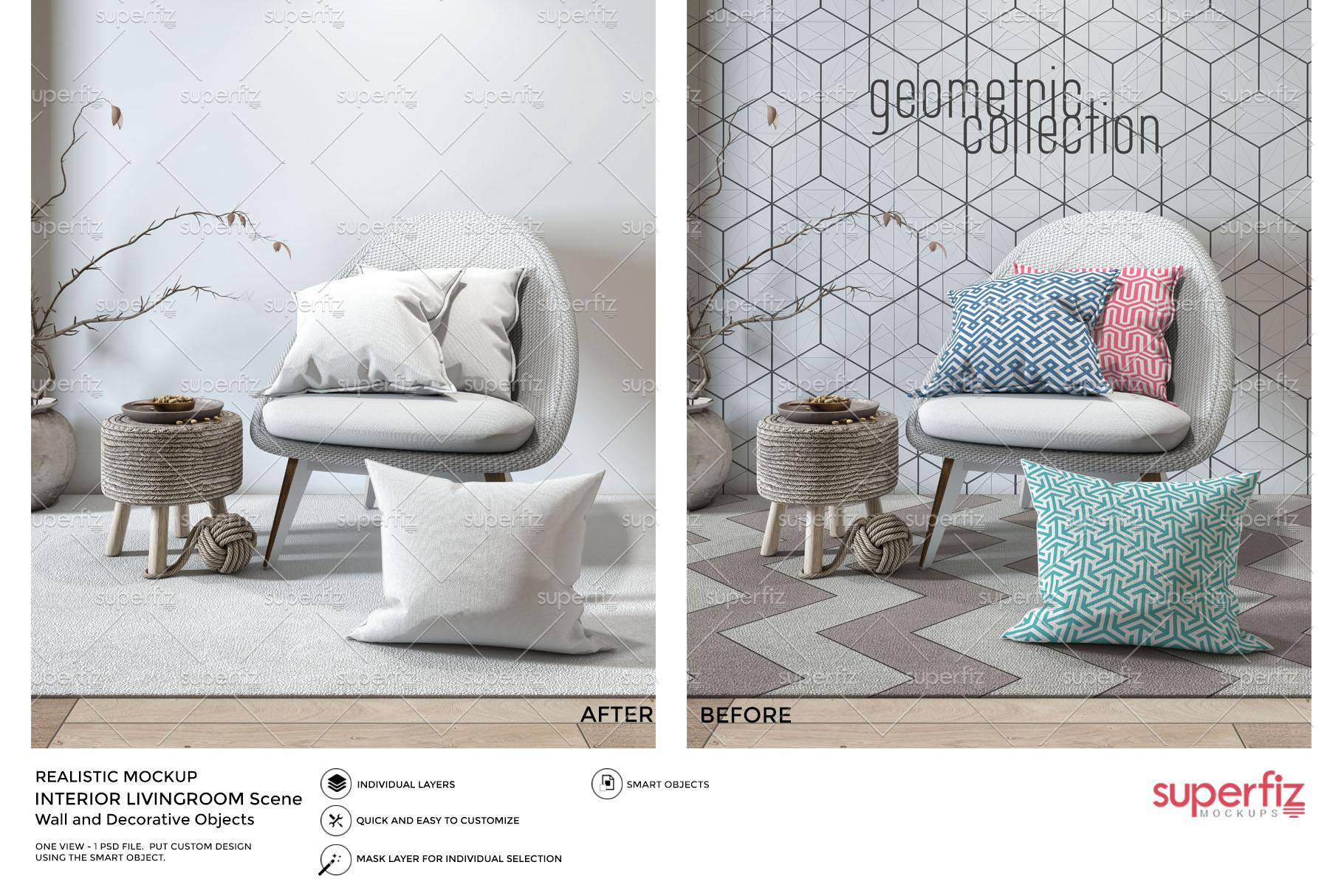 Pillows Wallpaper Frame Carpet PSD Mockup SM77 example image 5