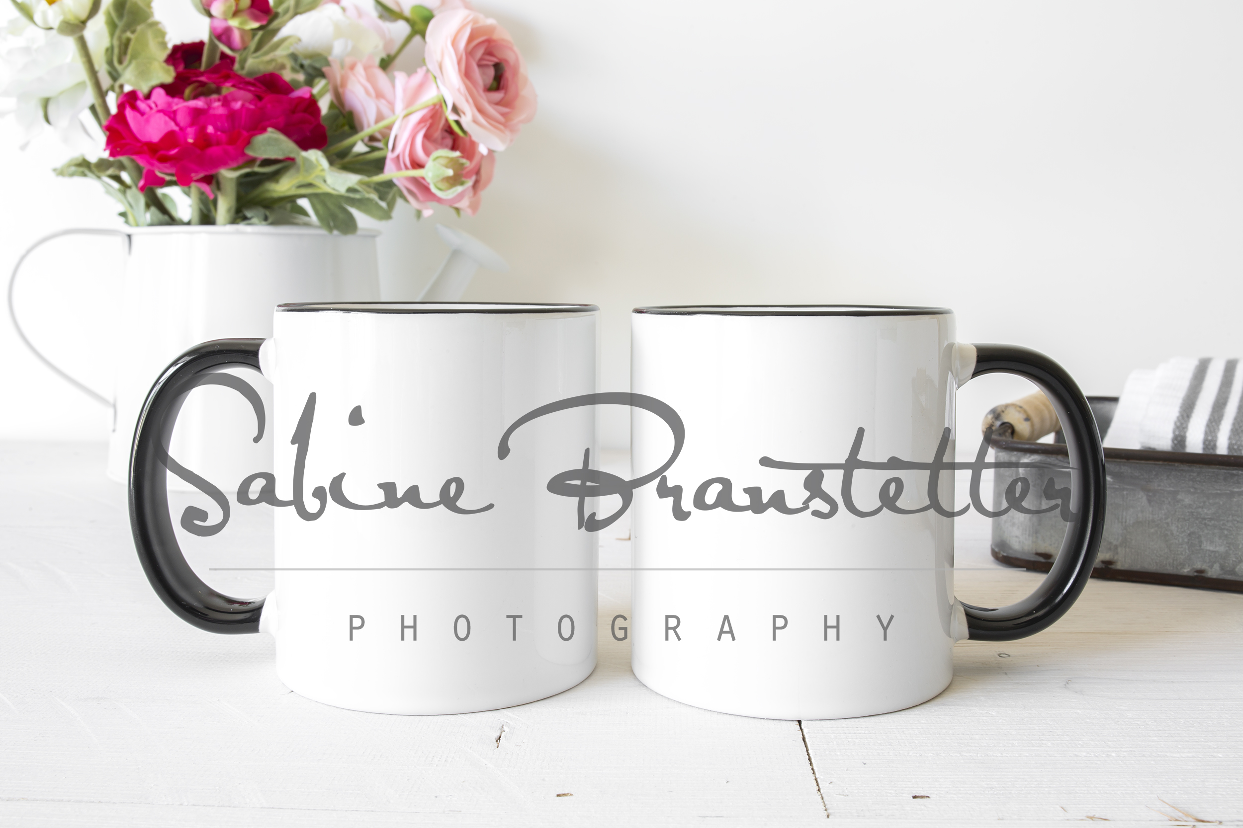 Styled Stock Photography Two Black/White Coffee Mugs Mockup example image 1