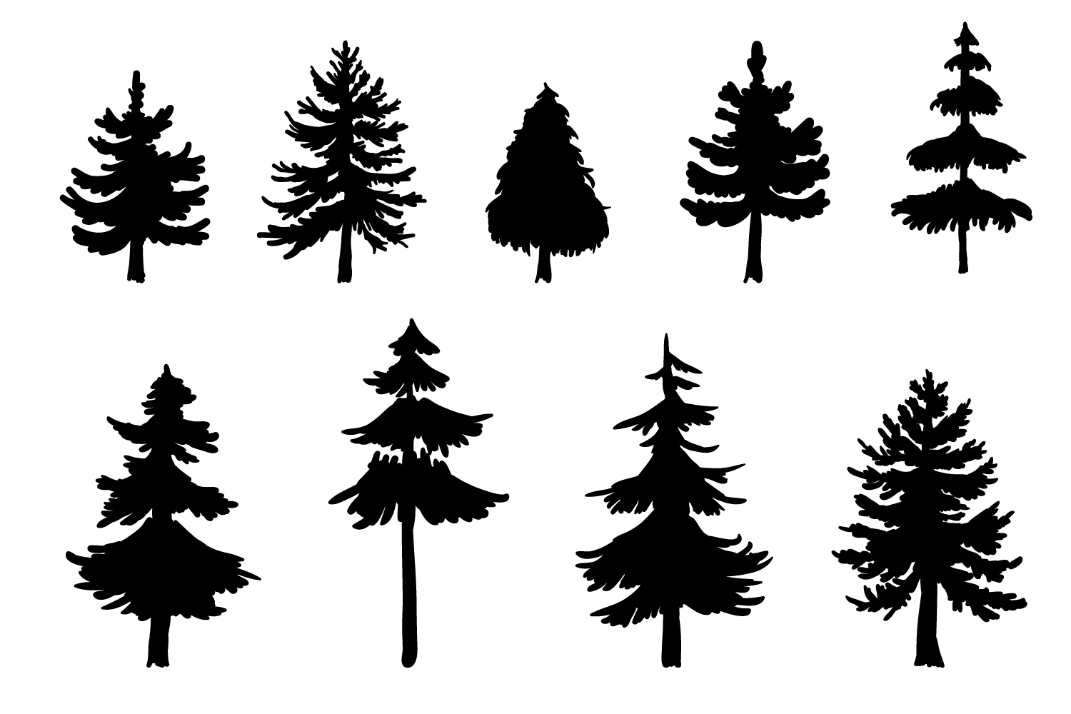 9 Vector Pine Tree Silhouette Illustrations example image 2