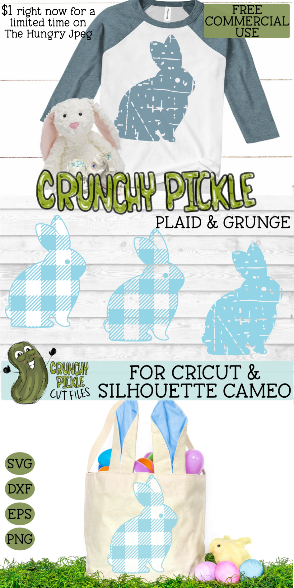 Plaid & Grunge Spring Easter Bunny 3 SVG Cut File example image 4