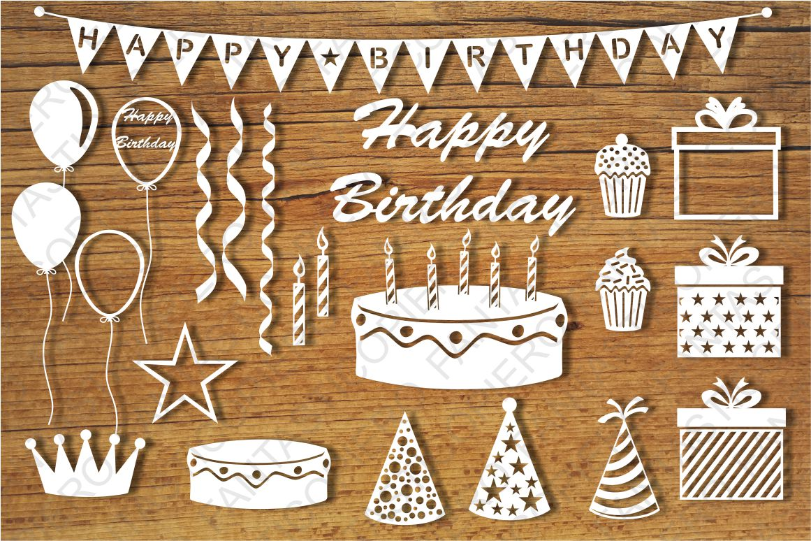 Download Happy Birthday elements SVG files for Silhouette, Cricut.