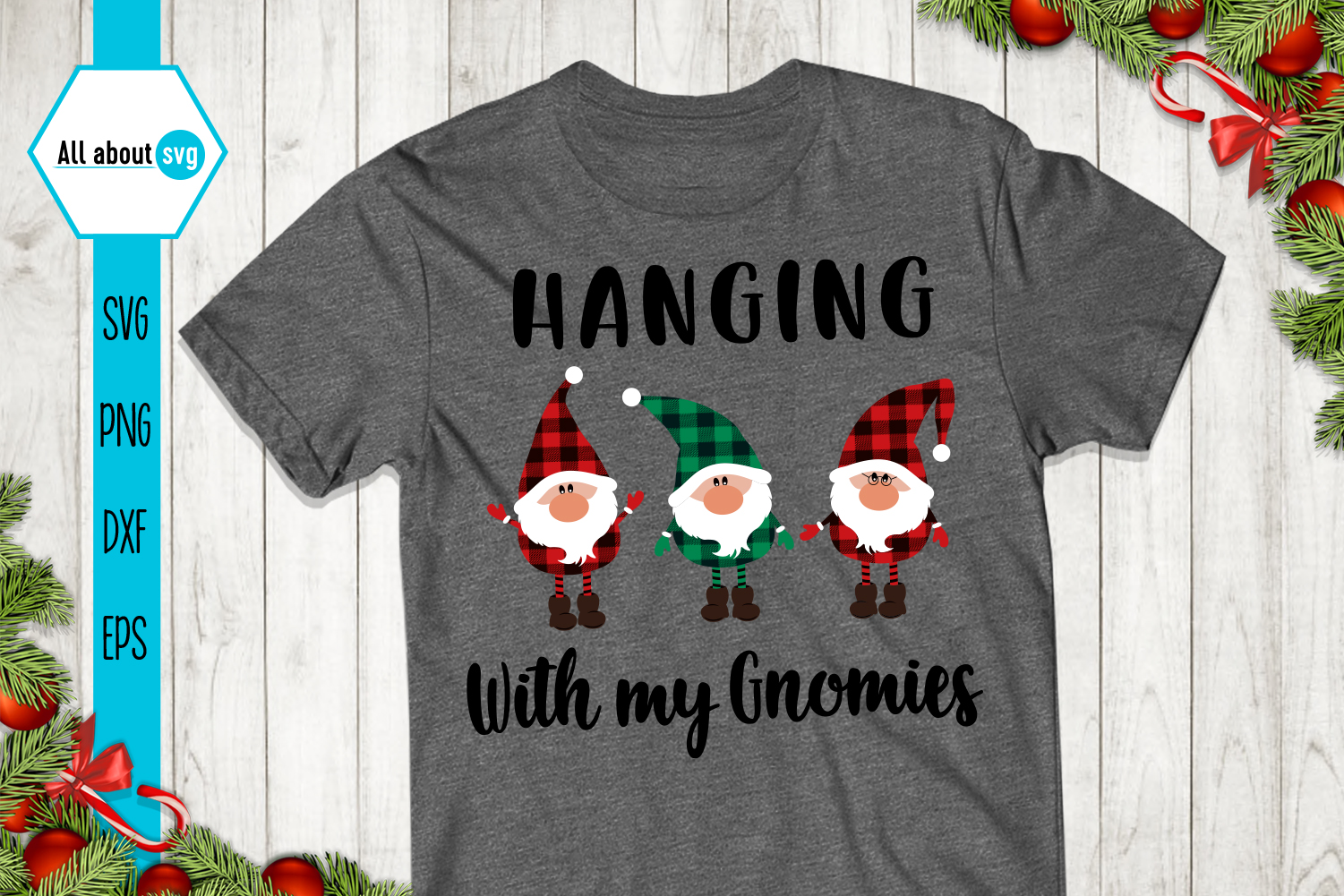 Hanging With My Gnomies Buffalo Plaid Svg example image 3