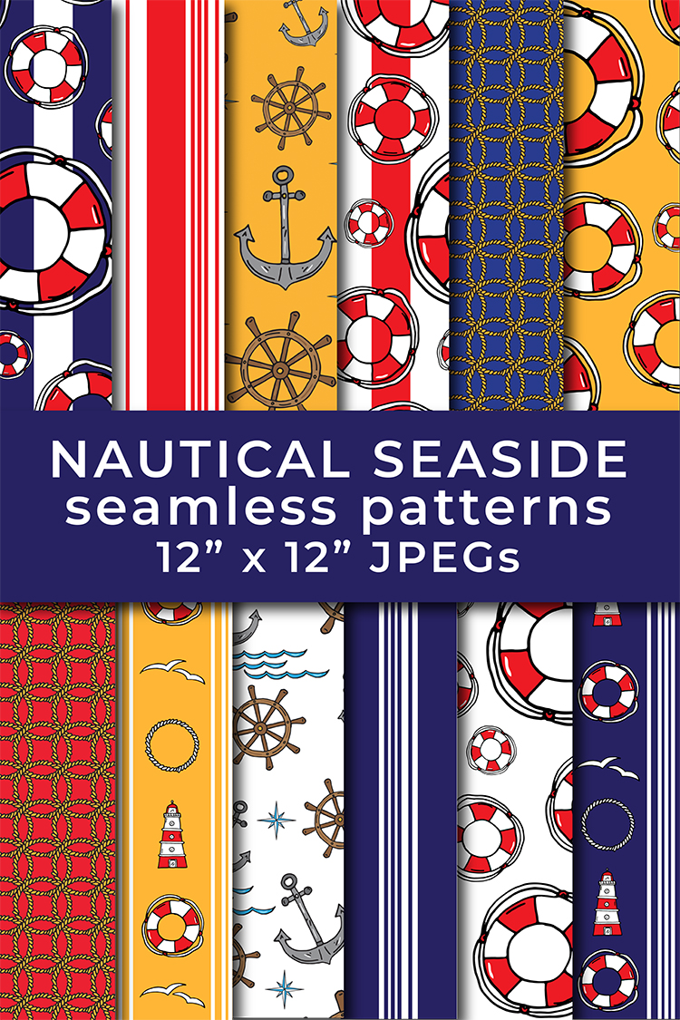 Nautical Lifebelt Anchor Lighthouse Stripes Repeat Patterns example image 5