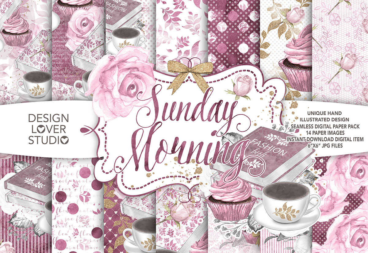 Watercolor Sunday Morning digital paper pack example image 1
