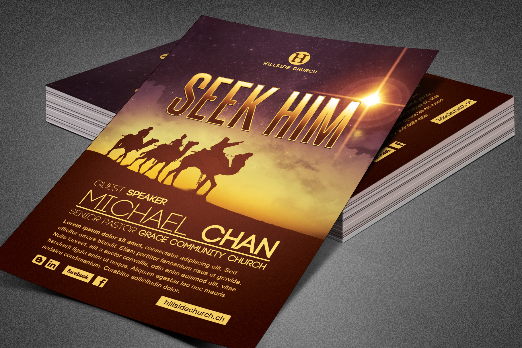 Seek Him Church Flyer Template example image 4