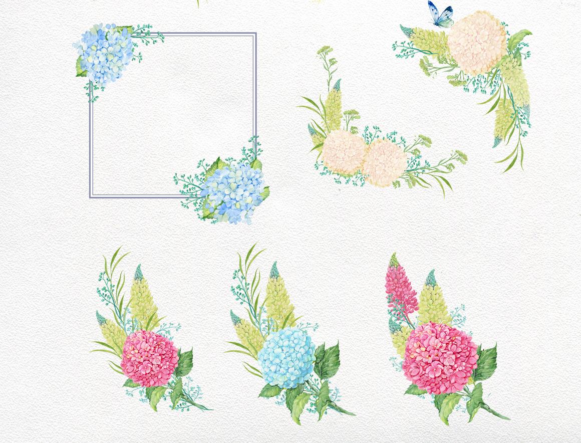 hydrangea watercolor clipart example image 7