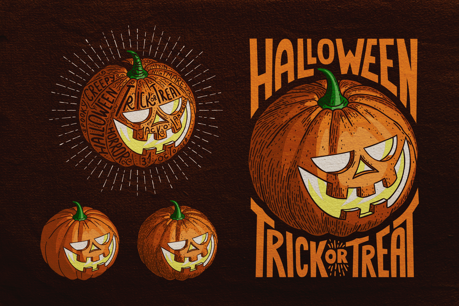 Halloween Pumpkin Engraving Style example image 3