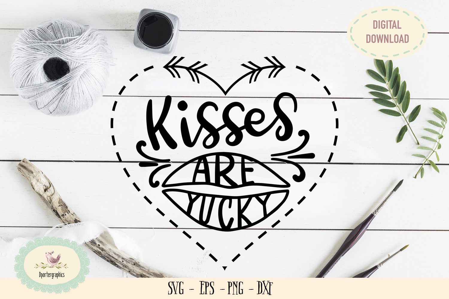 Kisses are yucky SVG cut file love heart lips example image 1