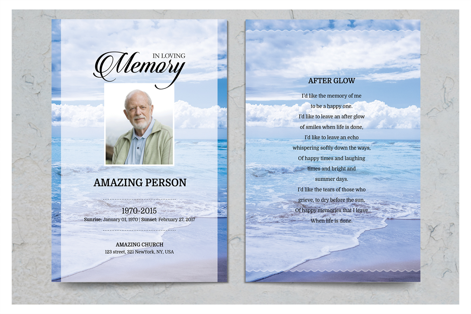 Sea Beach Funeral Prayer Card Template example image 2