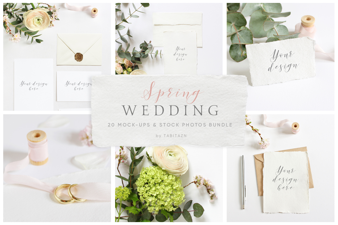Spring Wedding mockups  & stock photo bundle example image 1