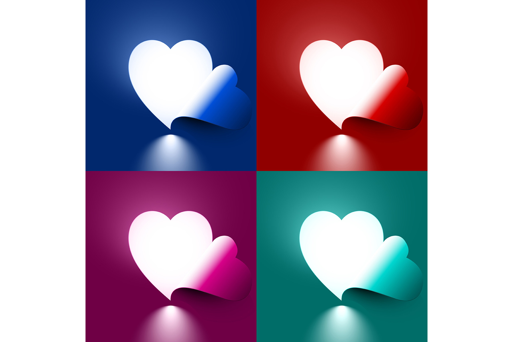 Vector Light through shape heart example image 1