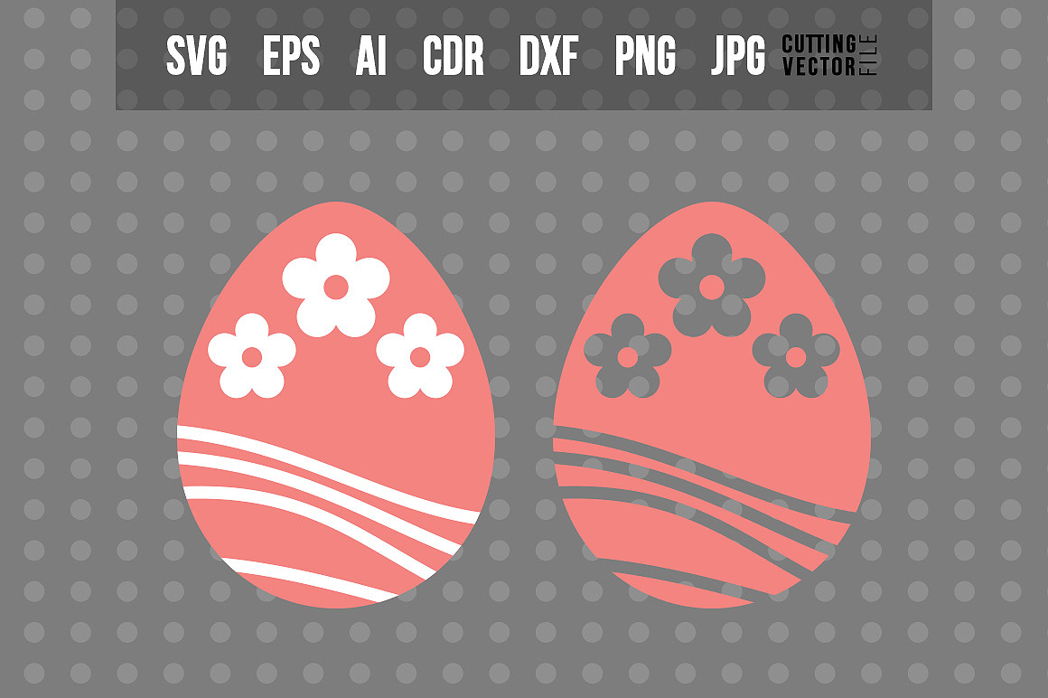 Easter Egg with Flowers - SVG example image 1