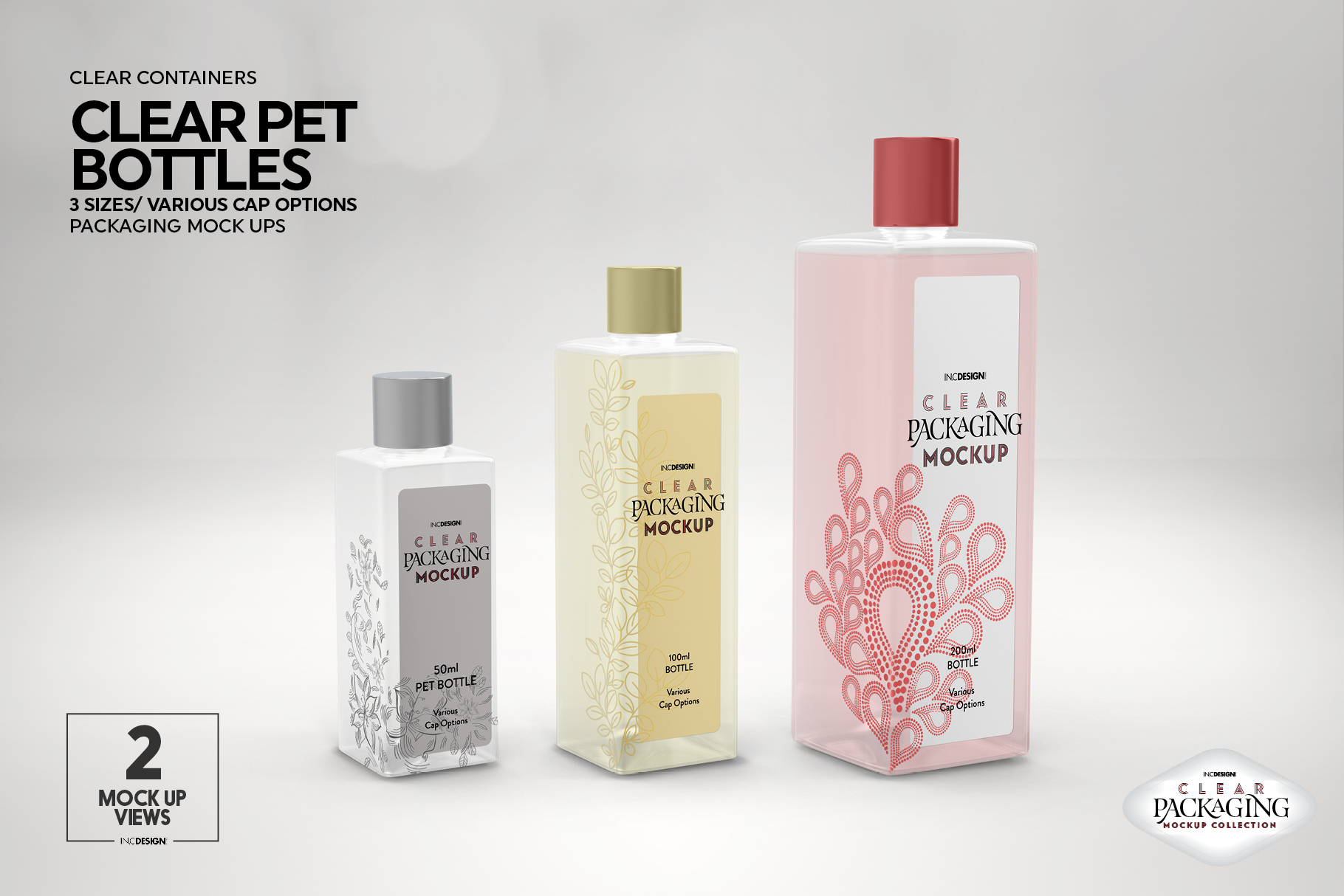 Clear Squared PET 3Bottles Packaging Mockup example image 5