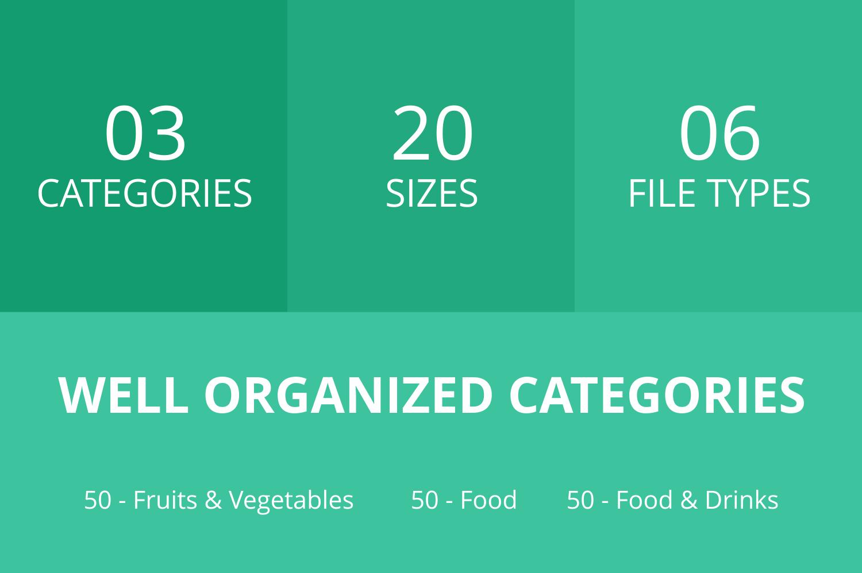 150 Natural Food Flat Icons example image 3