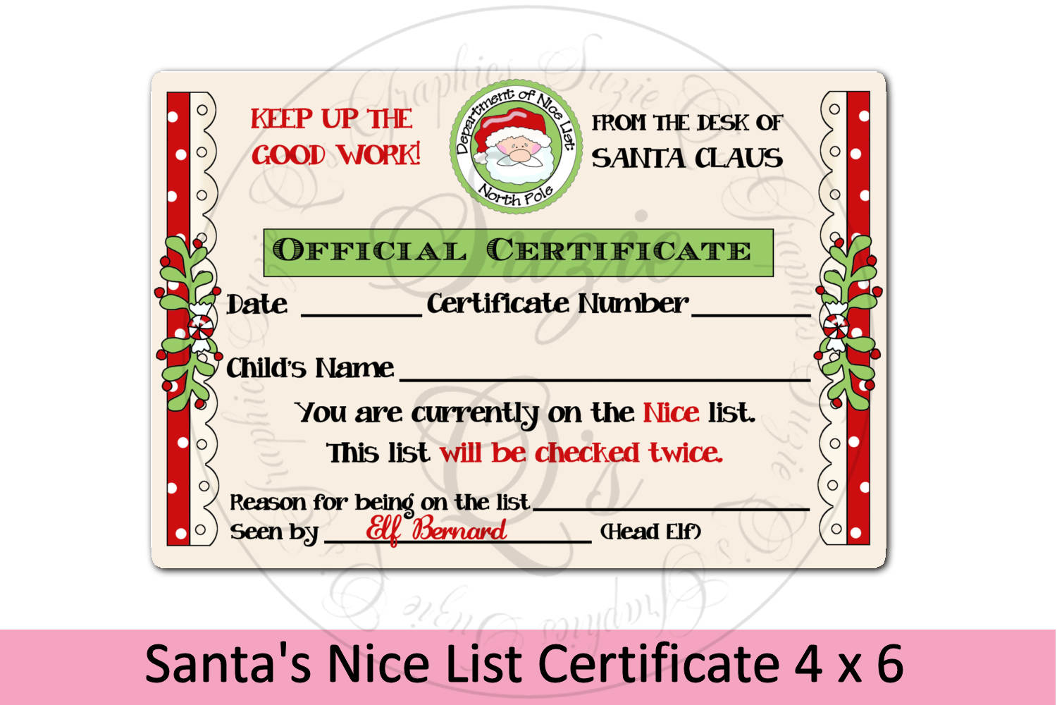 Santa's Nice List Certificate 4 x 6 inches example image 1