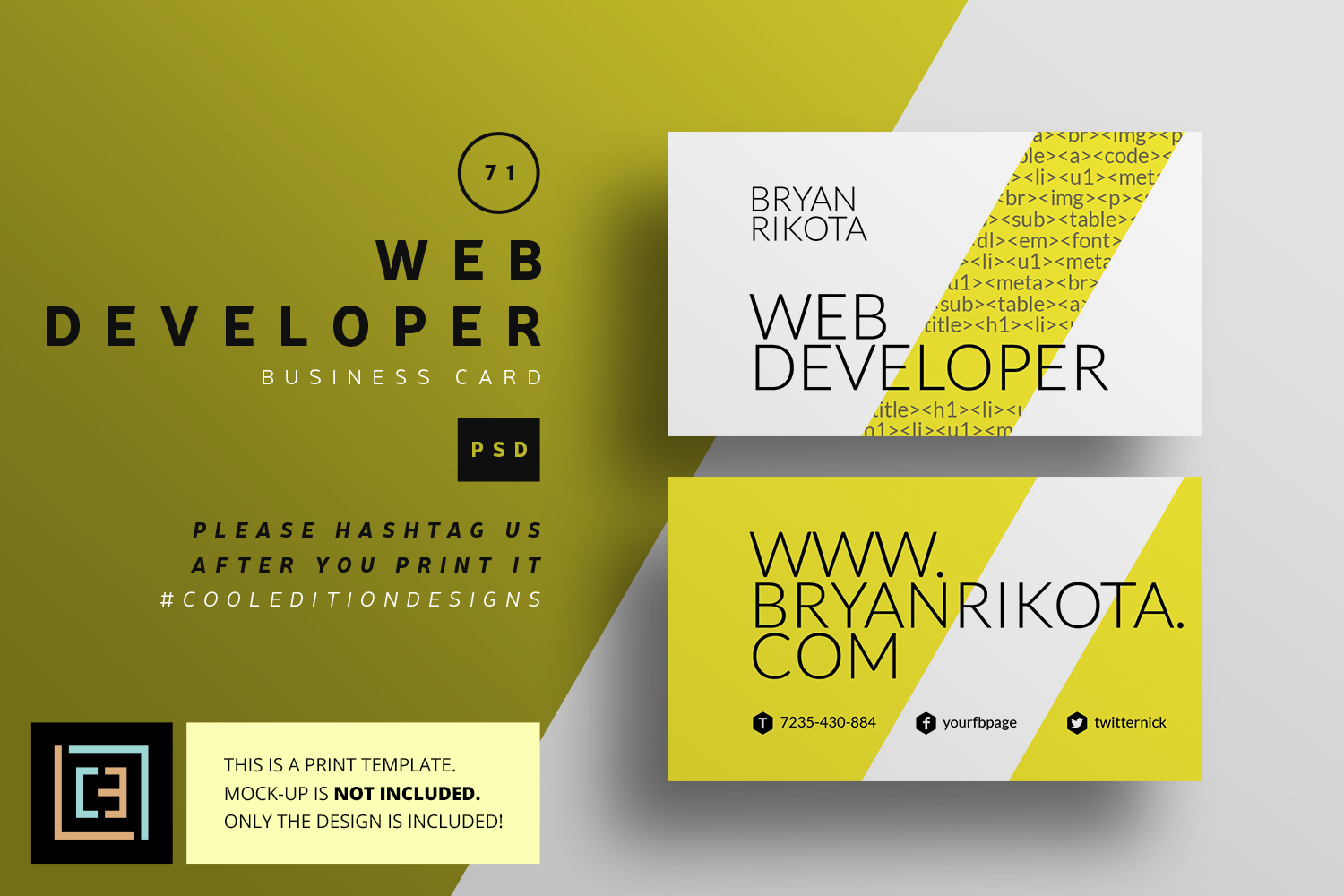 Web developer business card bc071 by design bundles web developer business card bc071 example image 1 reheart Choice Image