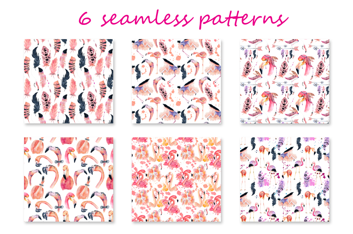 Boho flamingo Watercolor set example image 6