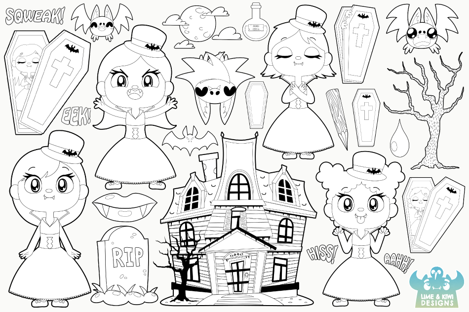 Vampire Girls Digital Stamps example image 2
