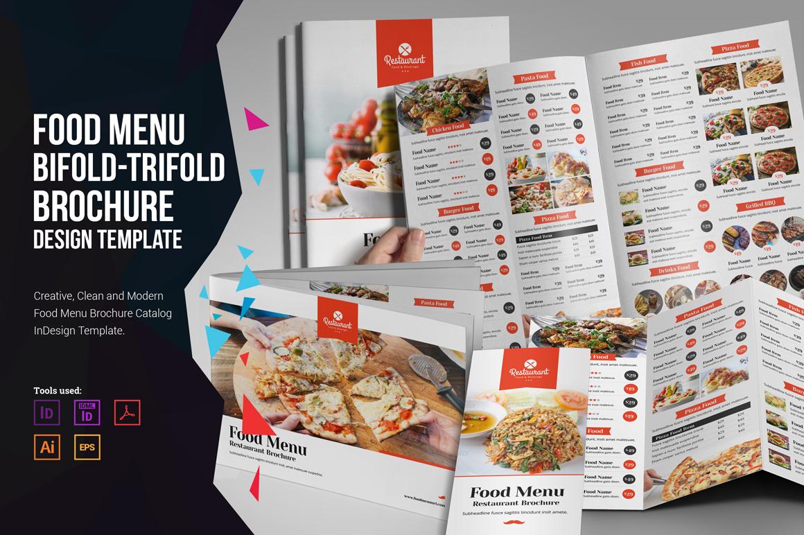 food menu bifold trifold brochure