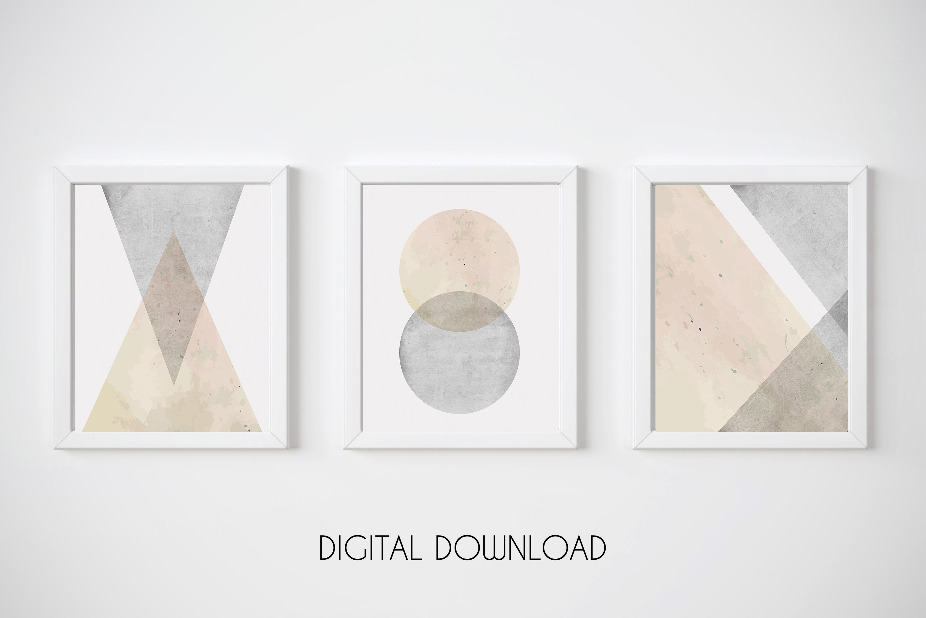 Geometric wall art set of 3 prints pink and grey wall art