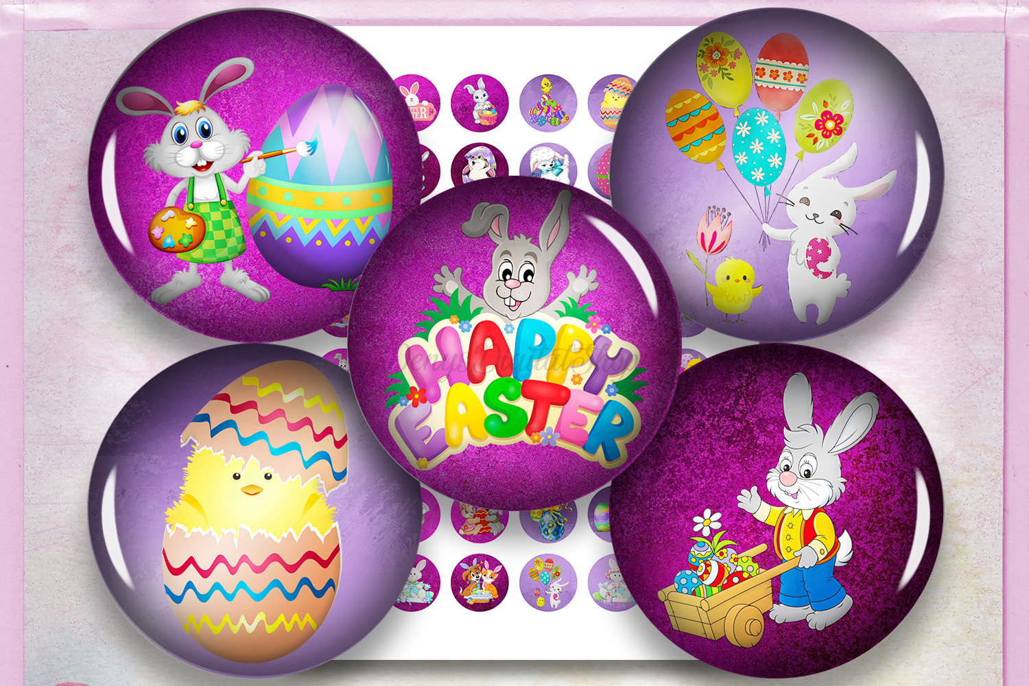 Easter Digital Collage Sheet,Easter Images,Easter Circles example image 1