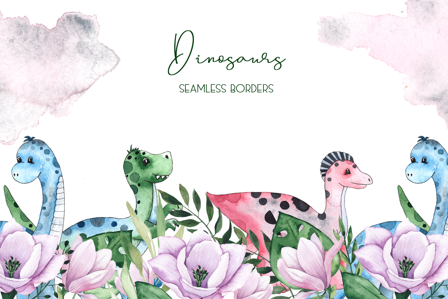 Dinosaurs. Watercolor clipart example image 7