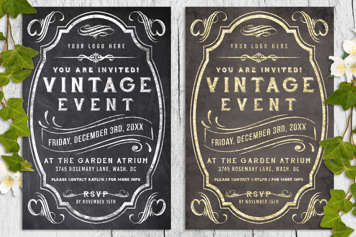 Vintage Chalk and Foil Flyer Bundle example image 1