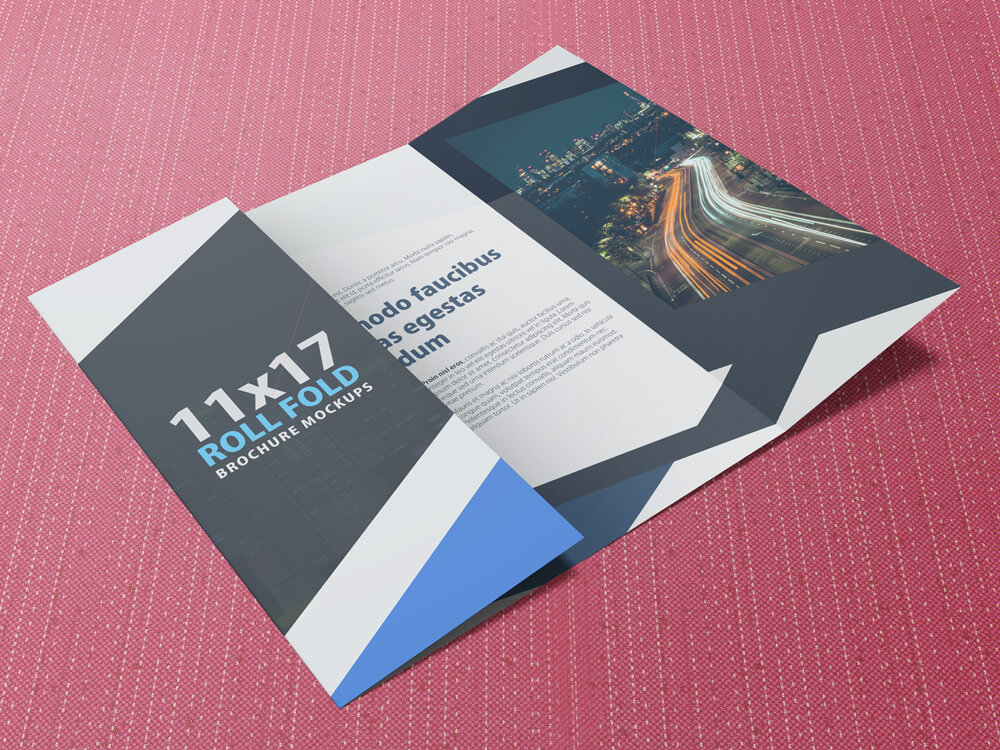 11x17 Four Panel Roll Fold Brochure Mockup example image 3