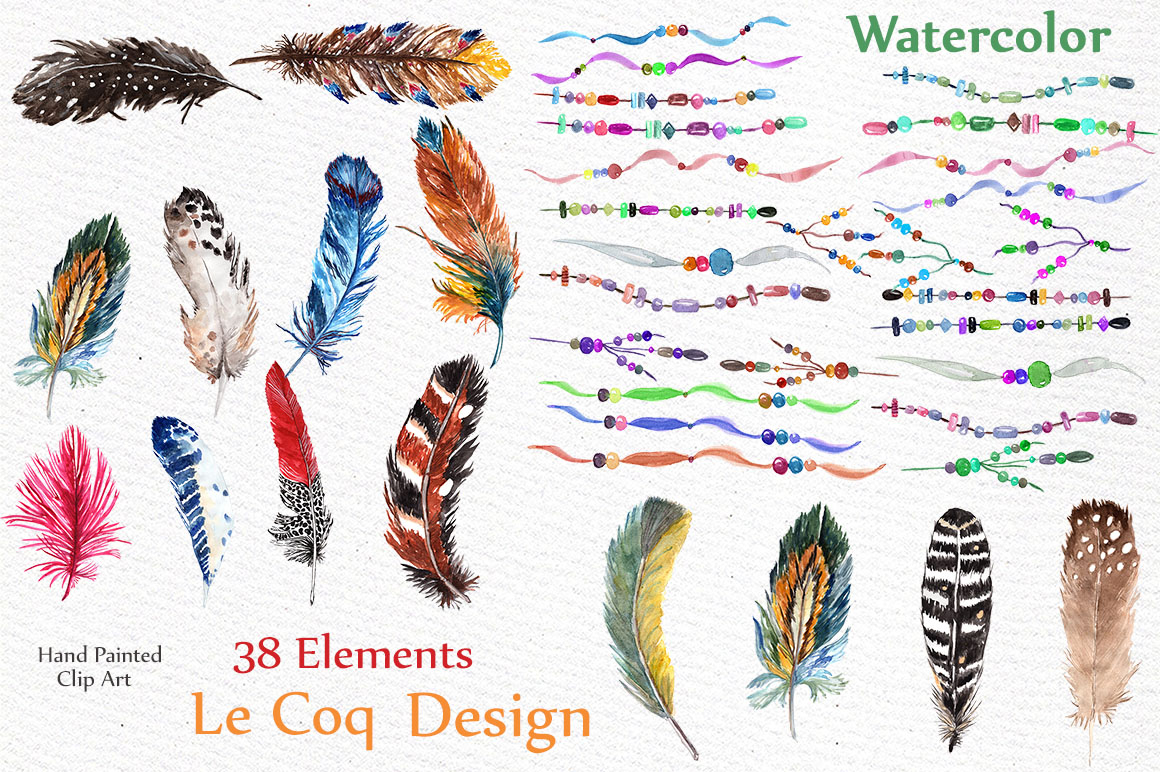 Watercolor feathers clip art example image 2