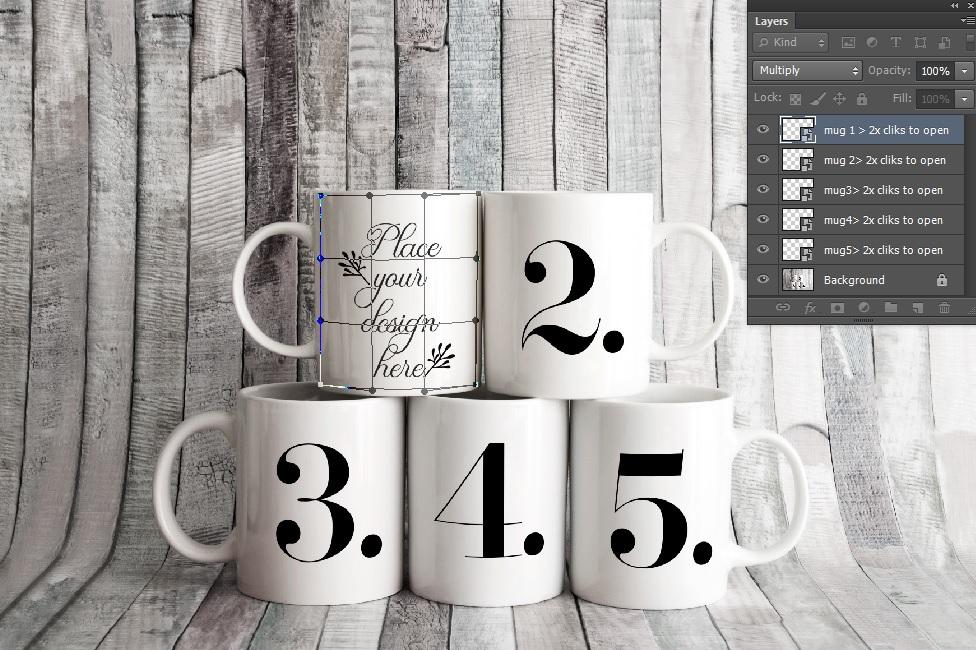 4x Bundle mug mockup PSD sublimation 11oz mugs mockups example image 7