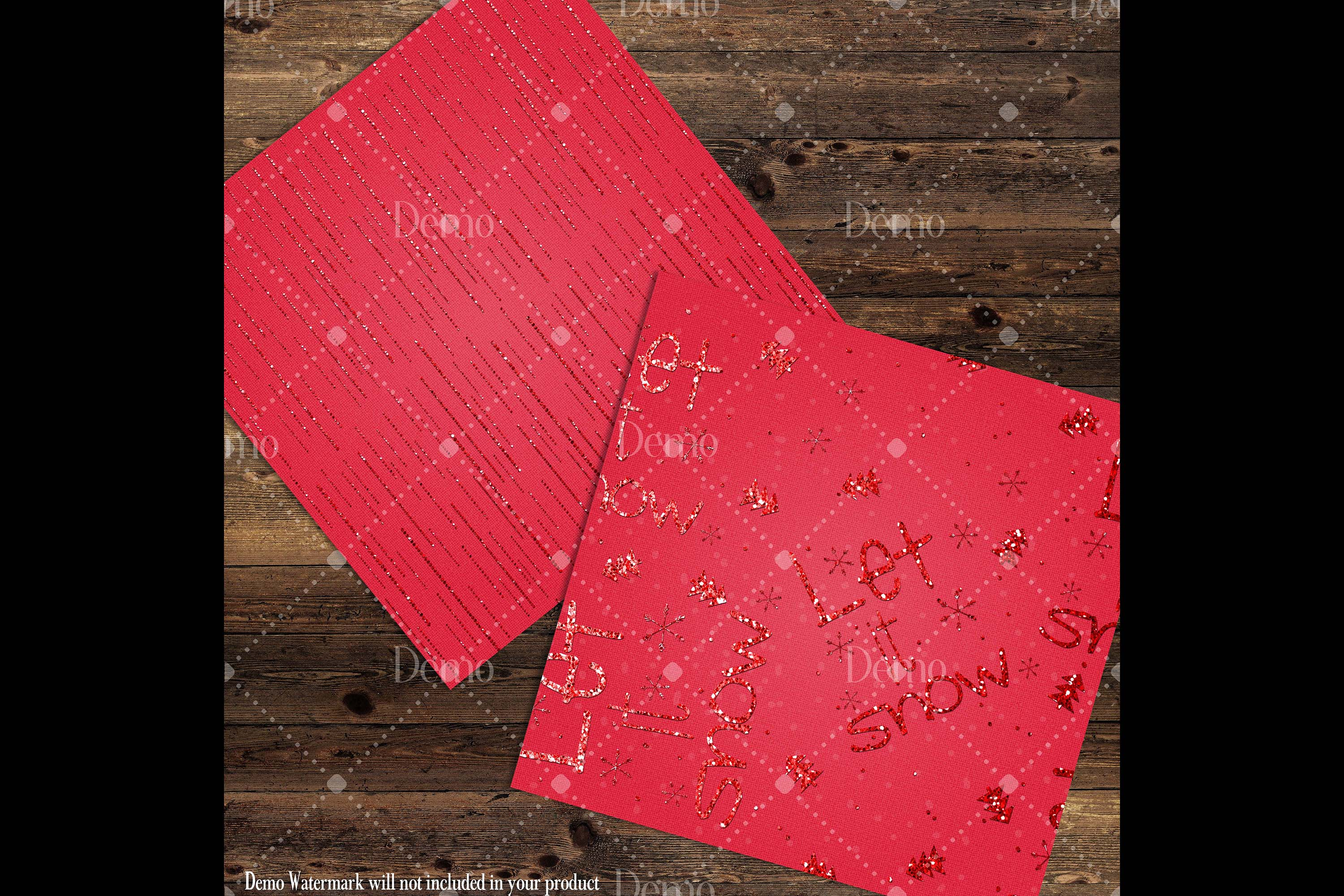 16 Red Glitter Christmas Printable Digital Papers 12 x 12 in example image 9