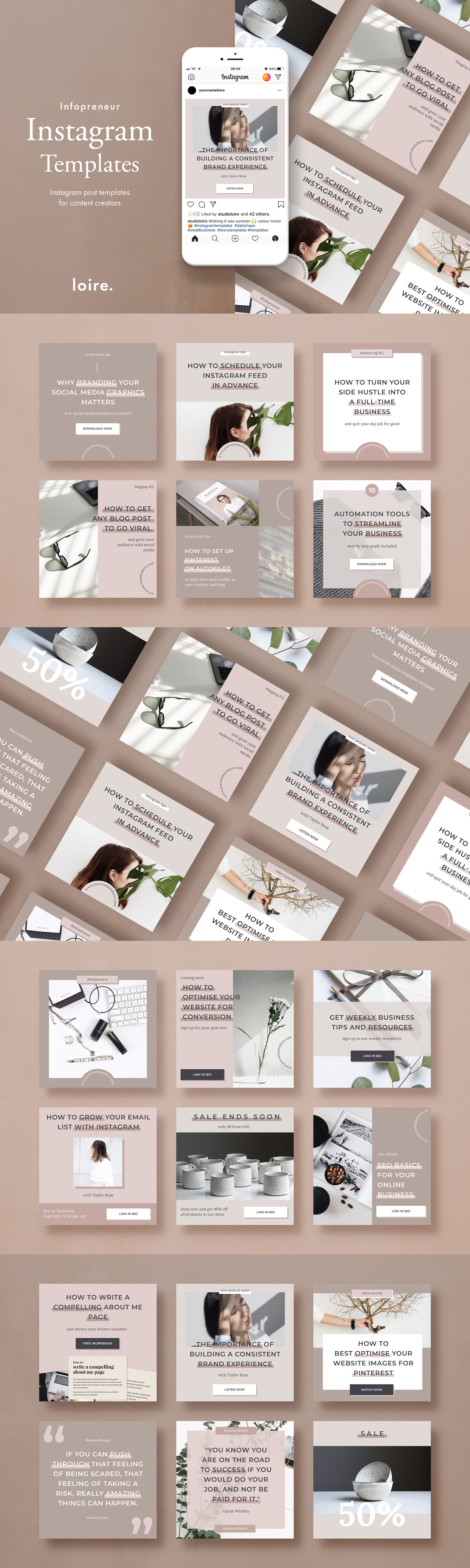 Instagram post template pack for bloggers example image 8