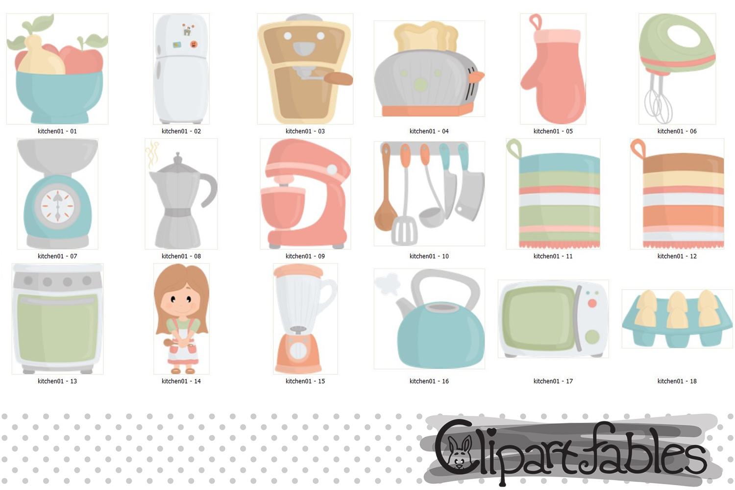 Kitchen clipart, cute girl chef clip art, in the kitchen art example image 2