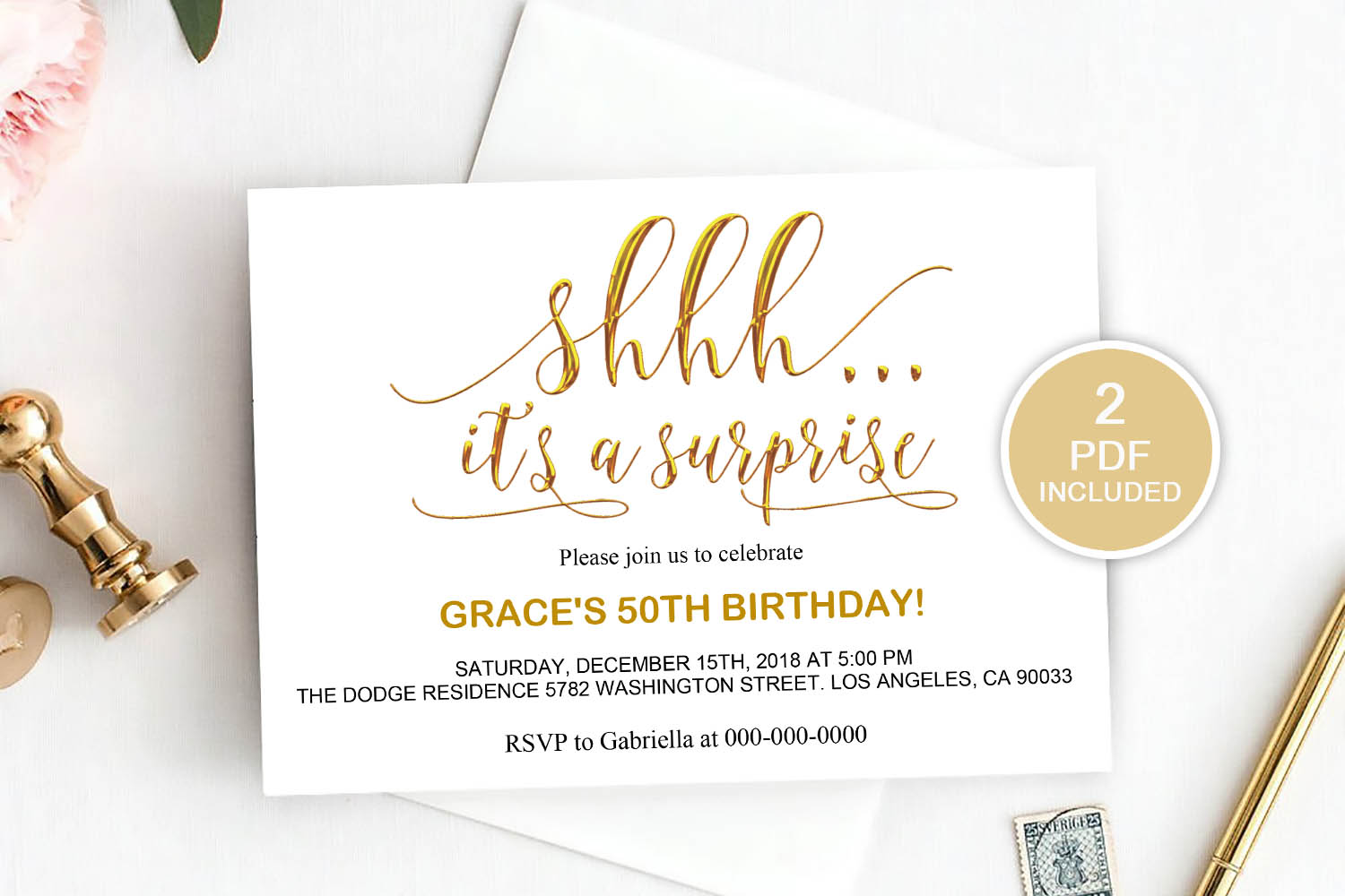 Surprise Party Invitation Template, DAD_20