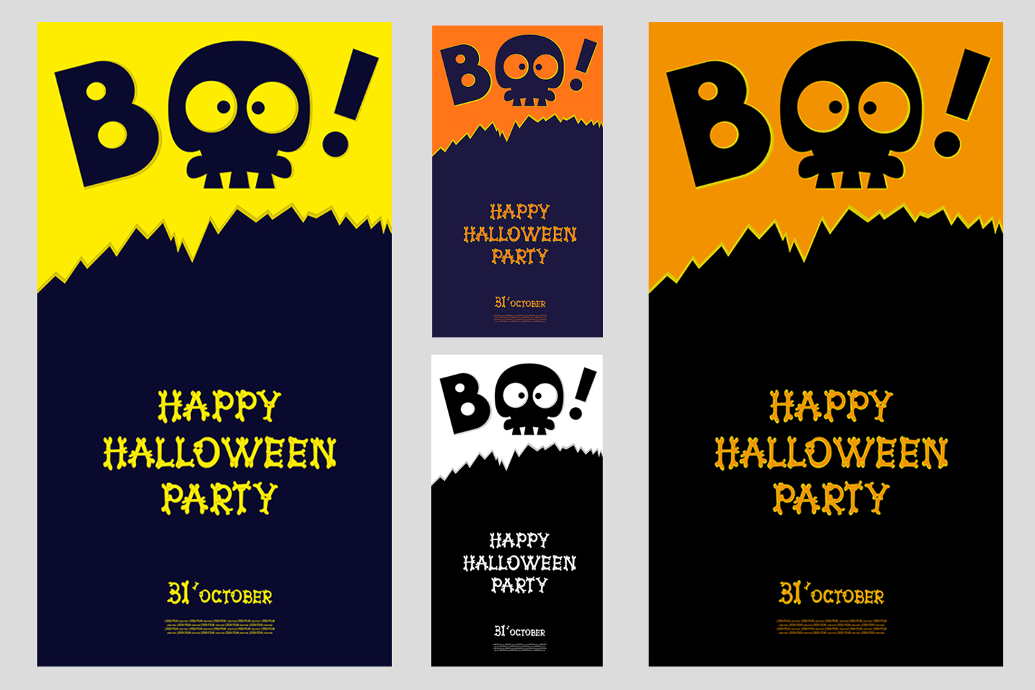 Set of 28 Halloween banner different color and character example image 2