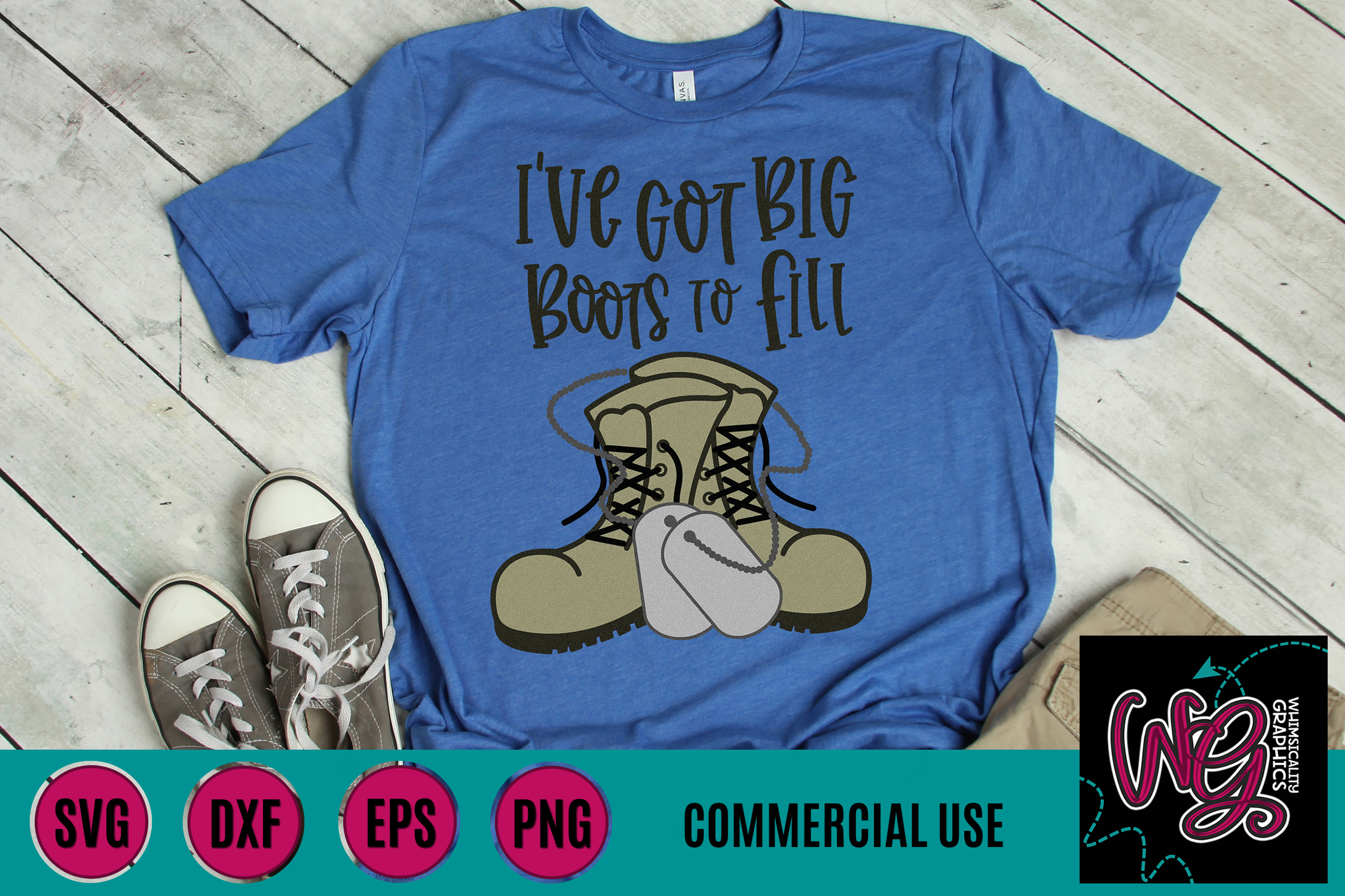 Big Boots To Fill Military SVG DXF PNG EPS Comm example image 1