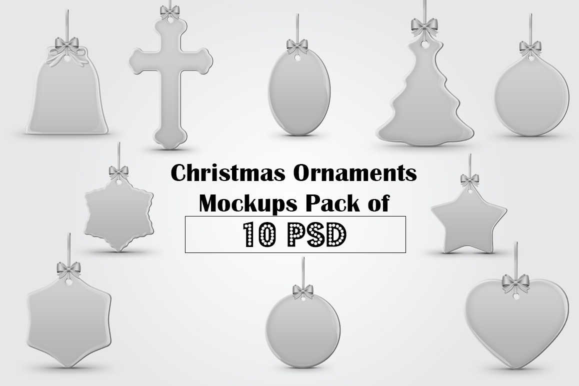 Christmas Ornaments Mockups Pack example image 1