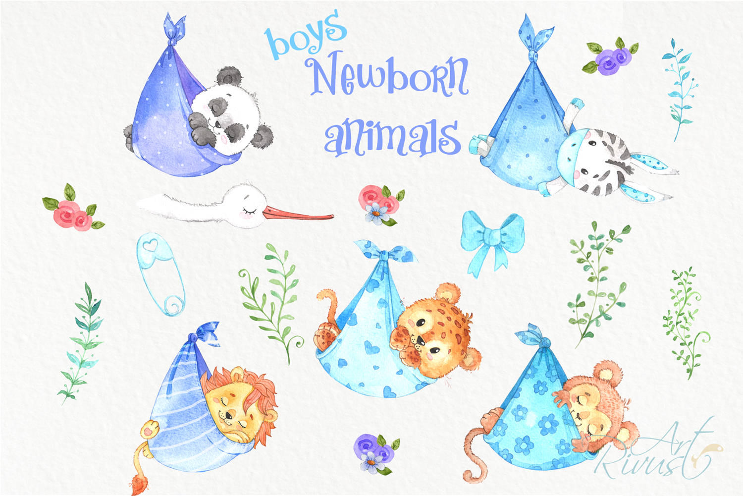 It's a boy Newborn animals clipart PNG download. African Saf example image 7