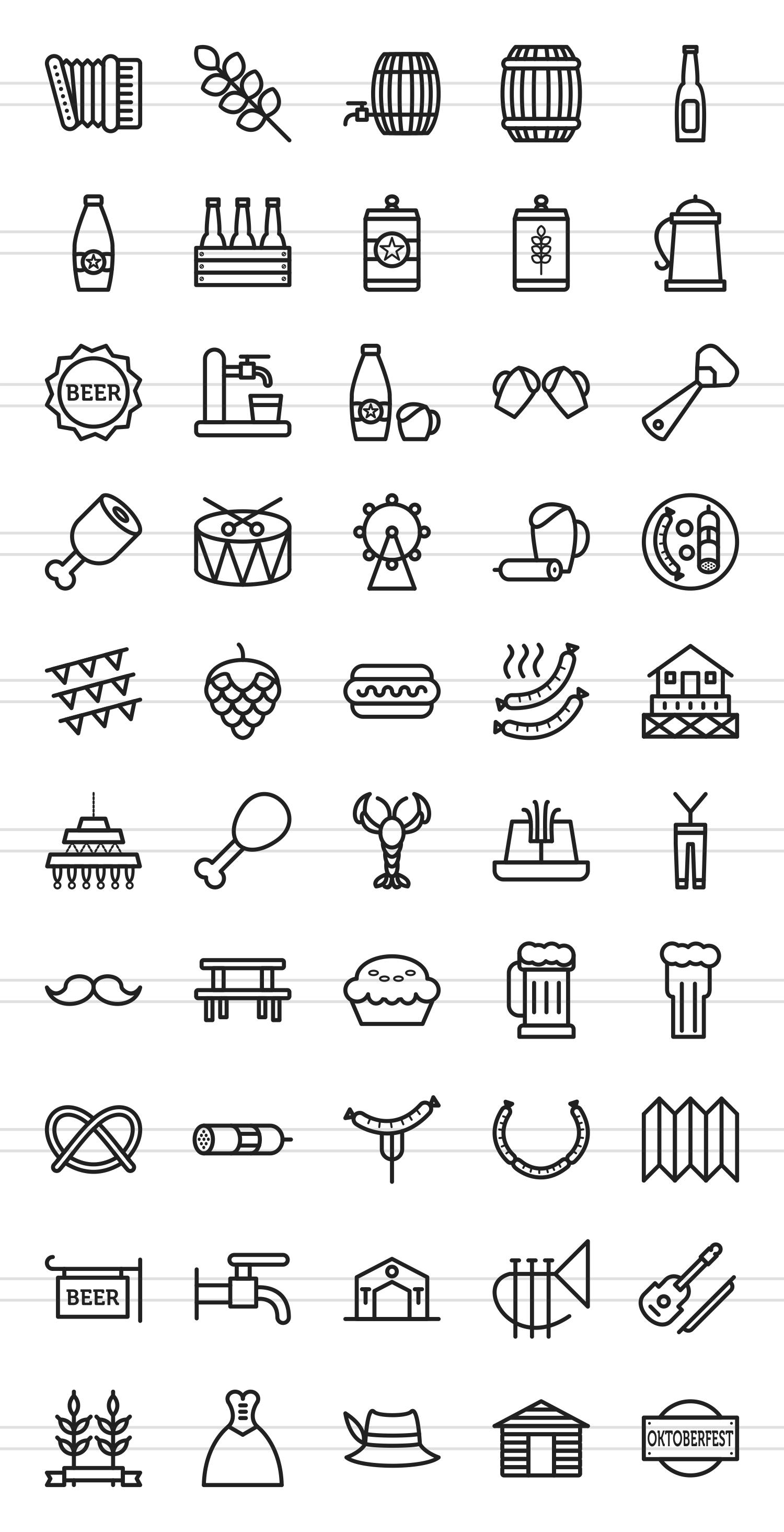 50 Oktoberfest Line Icons example image 2