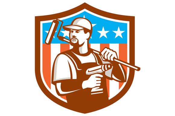 Handyman Cordless Drill Paintroller Crest Flag Retro example image 1