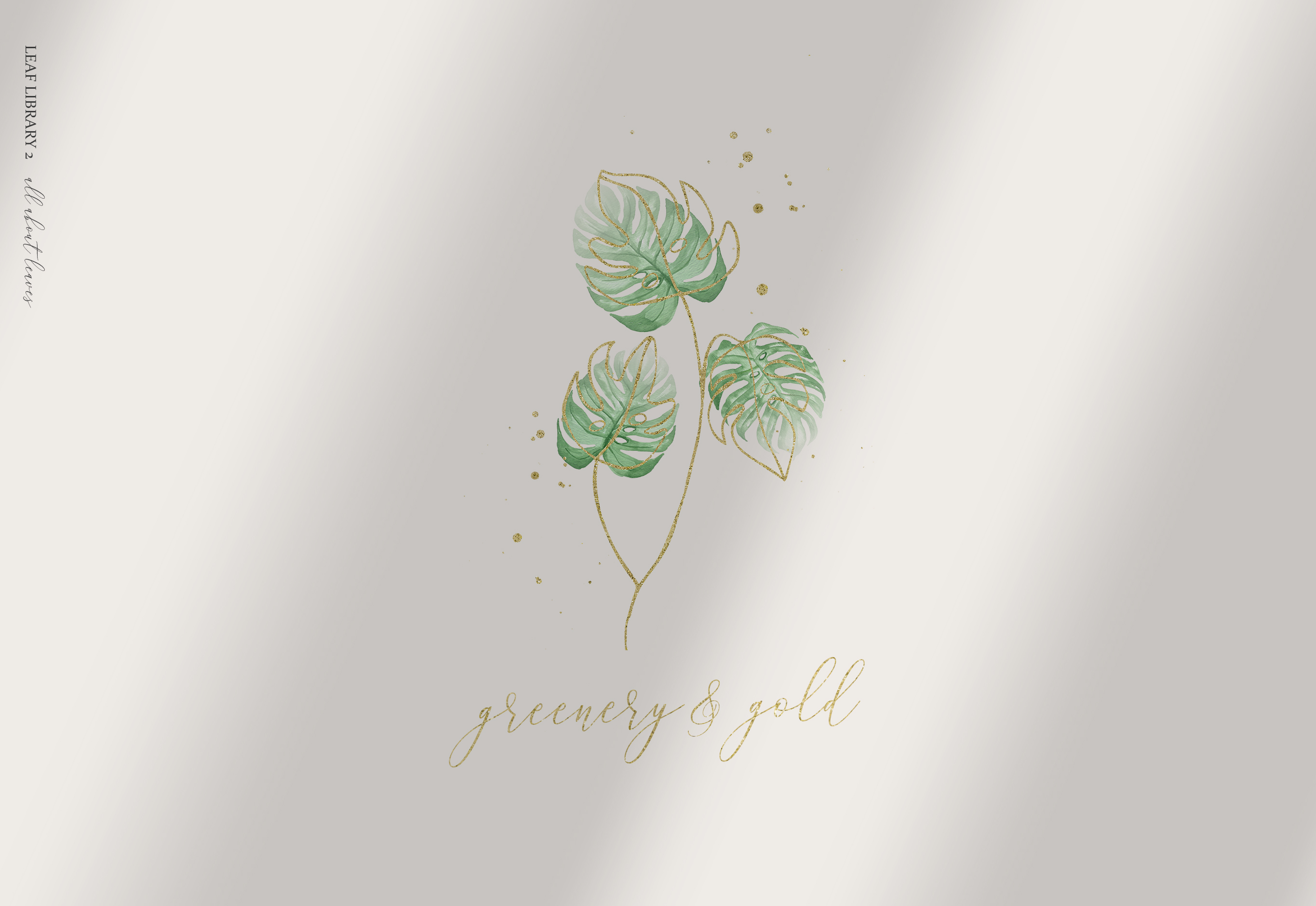Greenery and Gold Leaf Library II example image 12