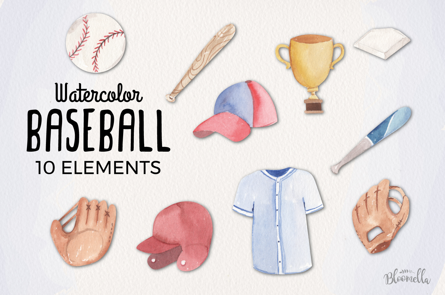 Watercolor Baseball Elements example image 1