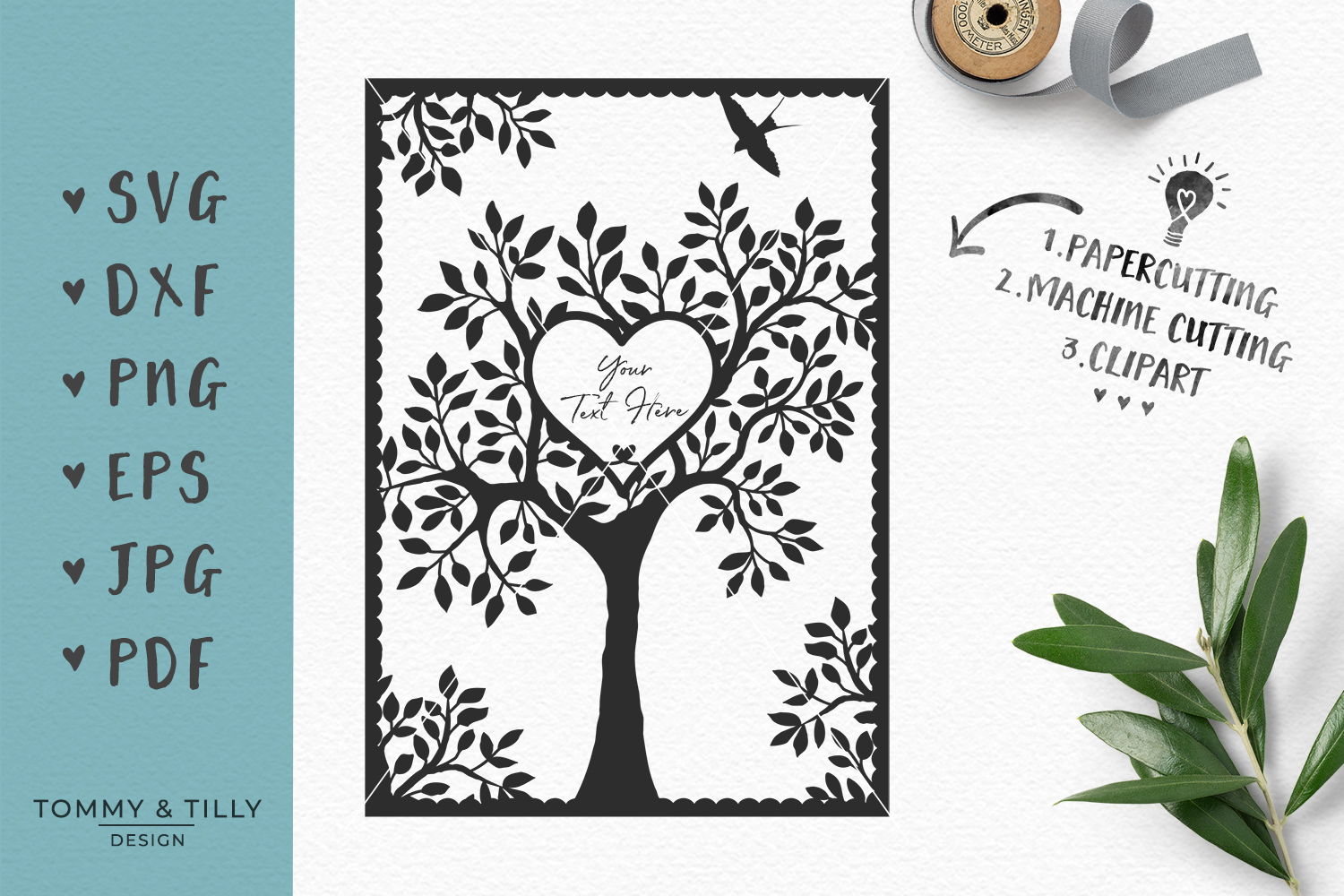 Natural Wedding Tree - SVG EPS DXF PNG PDF JPG Cutting File example image 1