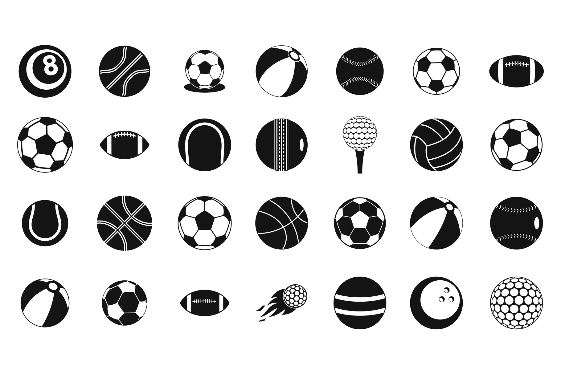Ball icon set, simple style example image 1