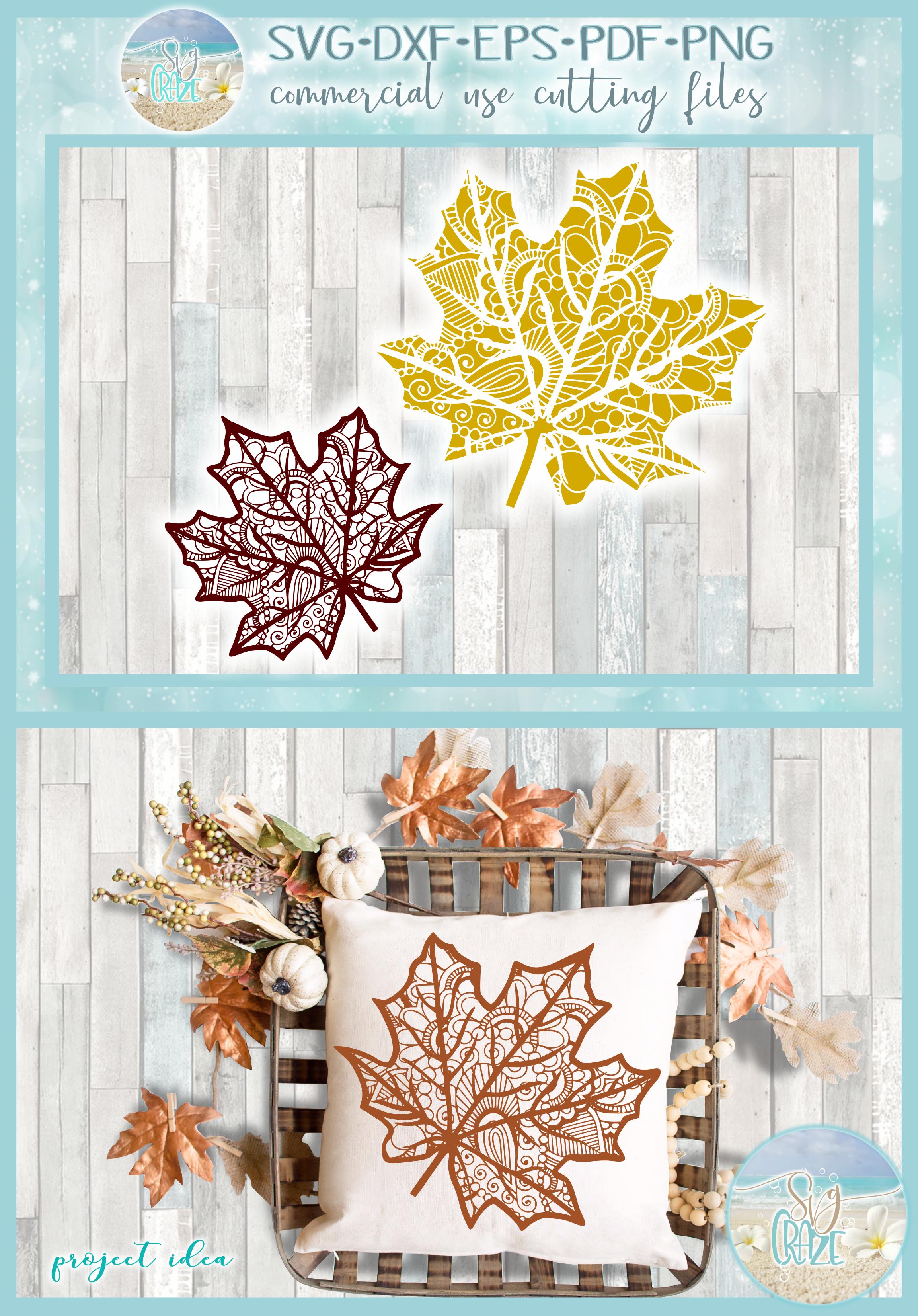 Fall Leaf Mandala Zentangle SVG example image 4
